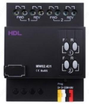 HDL HDL-MW02.431 2-канальное DIN Перекидное реле управления жалюзи, роллетами, шторами, воротами и др. перекидными нагрузками. Настраиваемый таймер на